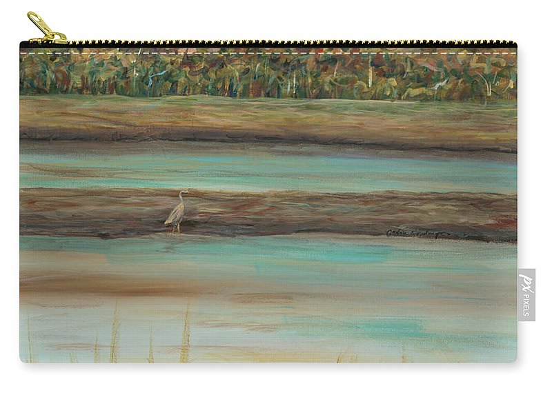Bird Carry-all Pouch featuring the painting Autumn Marsh and Bird by Nadine Rippelmeyer