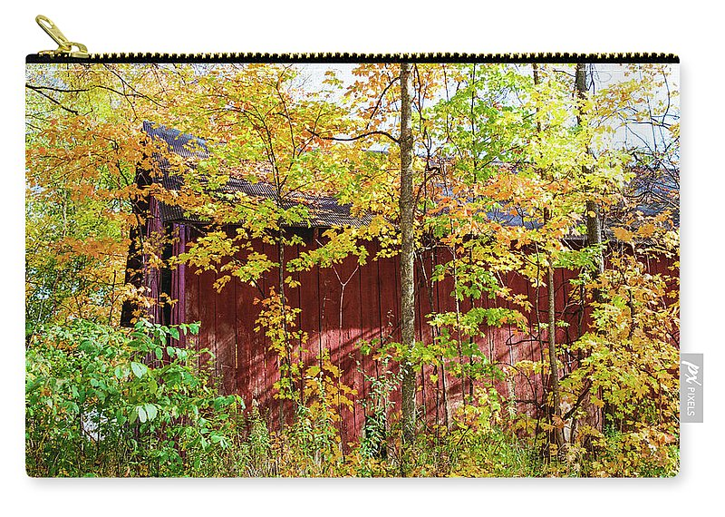 35mm Film Carry-all Pouch featuring the photograph Autumn Michigan Barn by John McGraw