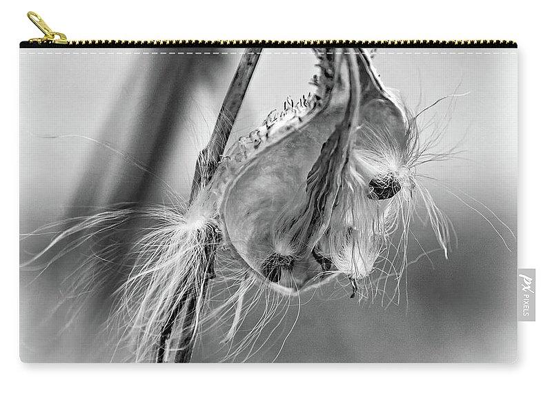 Steve Harrington Carry-all Pouch featuring the photograph Autumn Milkweed 9 - Bw by Steve Harrington