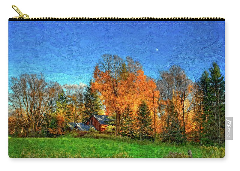 Moon Carry-all Pouch featuring the photograph Autumn Moon Rising by Steve Harrington