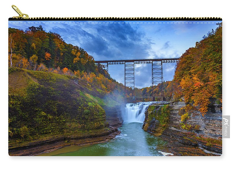 Autumn Carry-all Pouch featuring the photograph Autumn Morning At Upper Falls by Rick Berk