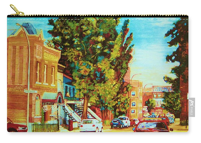 Bagg Street Synagogue Rue Bagg And Clark Carry-all Pouch featuring the painting Autumn On Bagg Street by Carole Spandau
