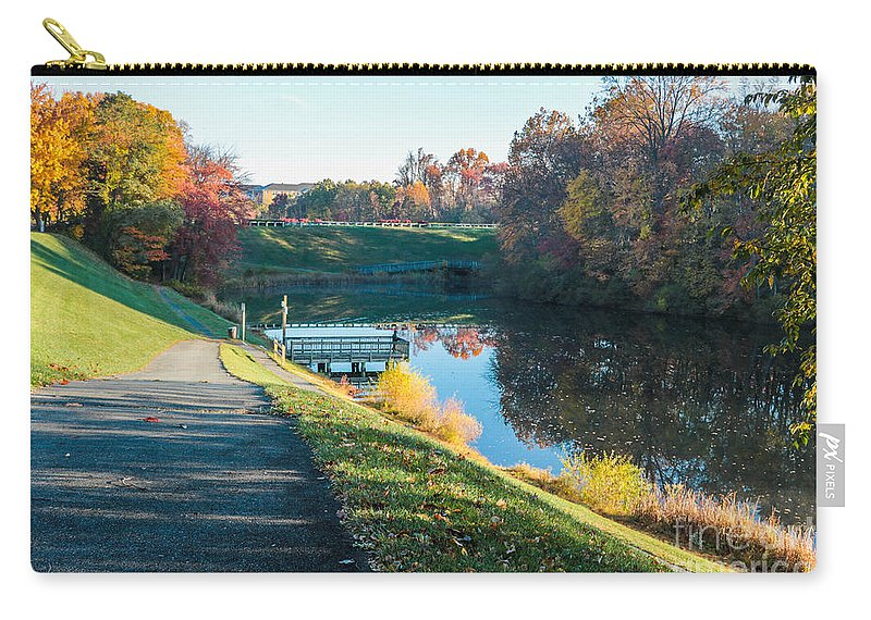 Gaithersburg Carry-all Pouch featuring the photograph Autumn On Lake Inspiration by Thomas Marchessault
