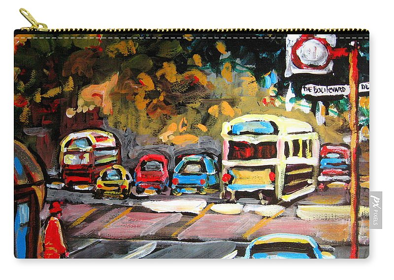 Montreal Carry-all Pouch featuring the painting Autumn On The Boulevard by Carole Spandau