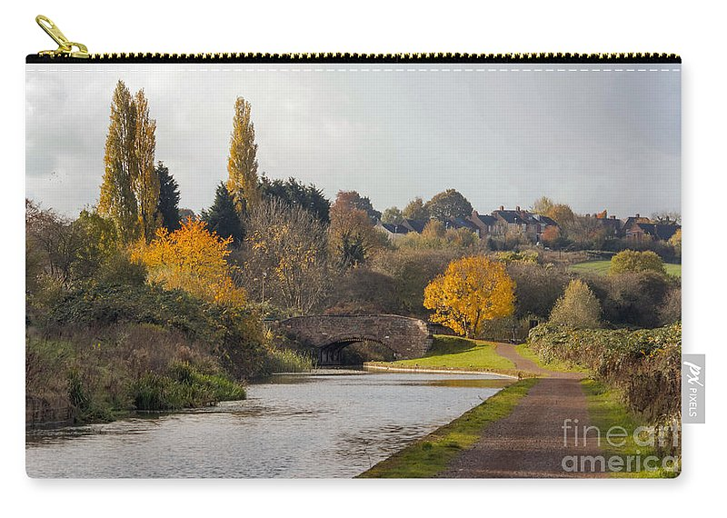 Canal - Colours - Shadows - Reflections - Autumn - Tow Path Carry-all Pouch featuring the photograph Autumn On The Canal by Chris Horsnell