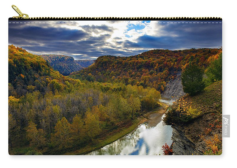Autumn Carry-all Pouch featuring the photograph Autumn On The Genesee by Rick Berk