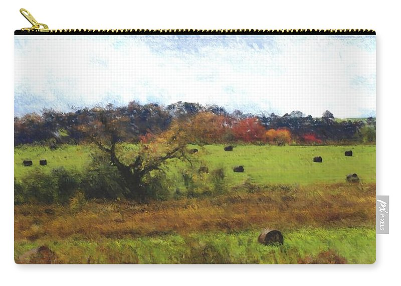 Digital Photograph Carry-all Pouch featuring the photograph Autumn Pasture by David Lane