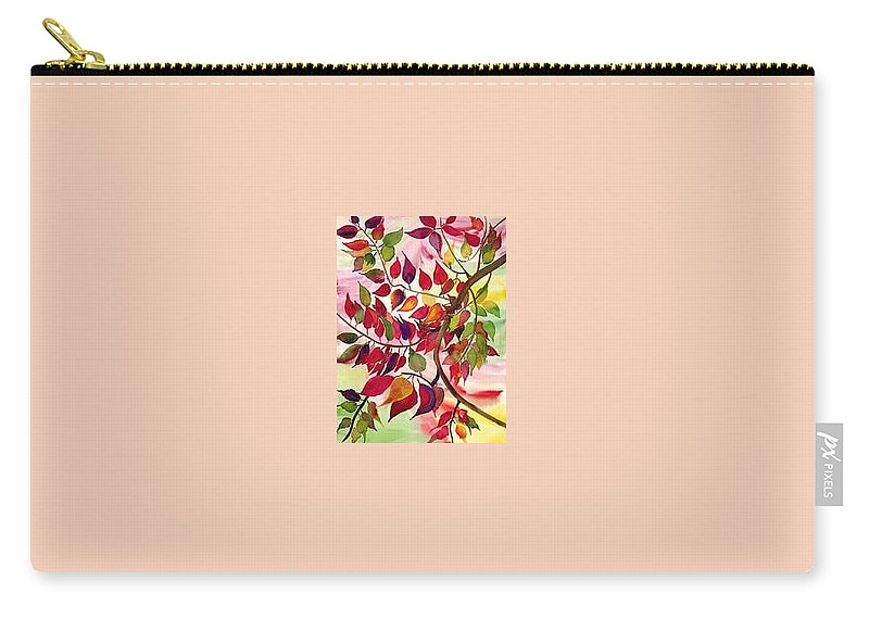 Fall Colors In The North East Carry-all Pouch featuring the painting Autumn by Pratibha Garewal