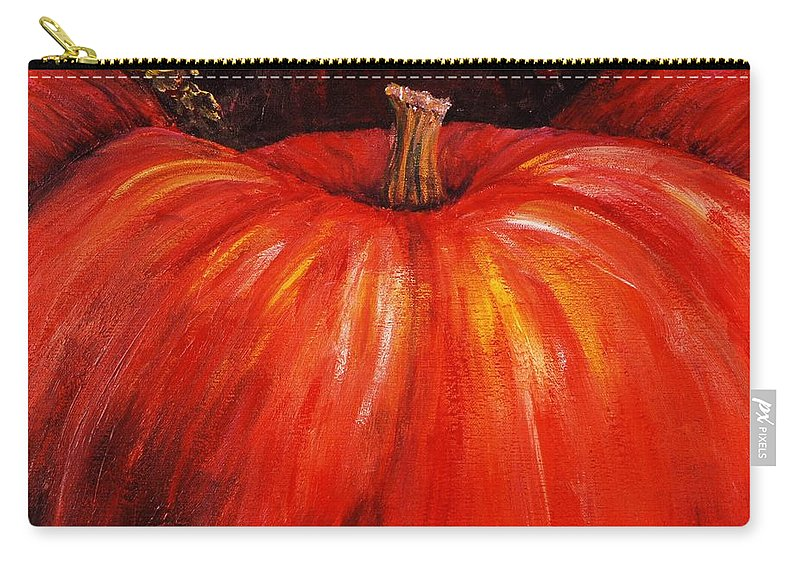 Orange Carry-all Pouch featuring the painting Autumn Pumpkins by Nadine Rippelmeyer
