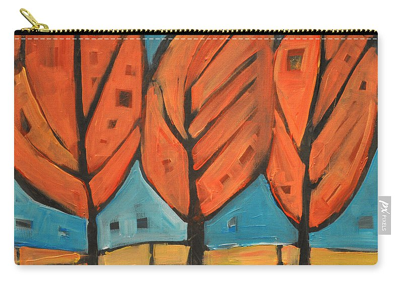Trees Carry-all Pouch featuring the painting Autumn Quilt by Tim Nyberg