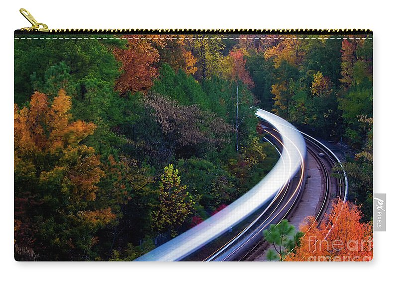 Atlanta Carry-all Pouch featuring the photograph Autumn Rails by Doug Sturgess
