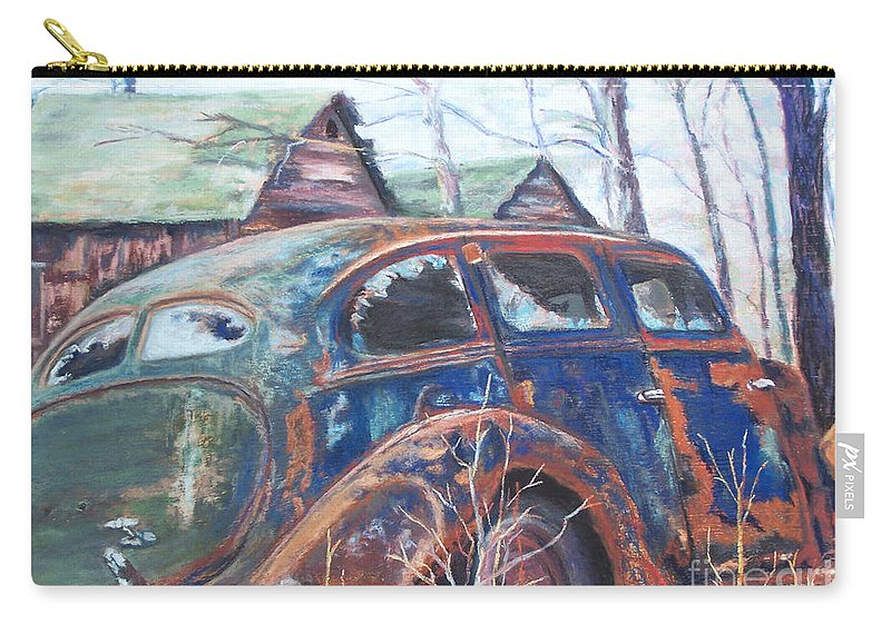 Vintage Auto Carry-all Pouch featuring the pastel Autumn Retreat - Old Friend Vi by Alicia Drakiotes