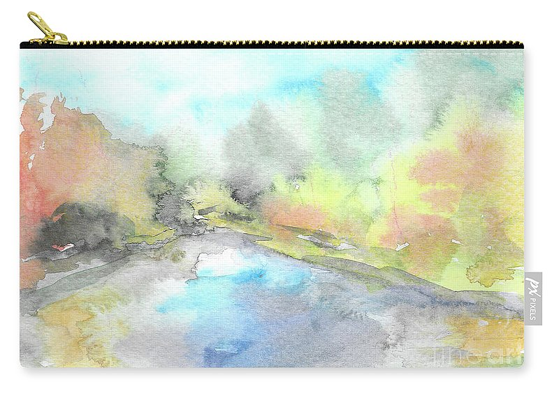 River Carry-all Pouch featuring the painting Autumn River by Yana Sadykova