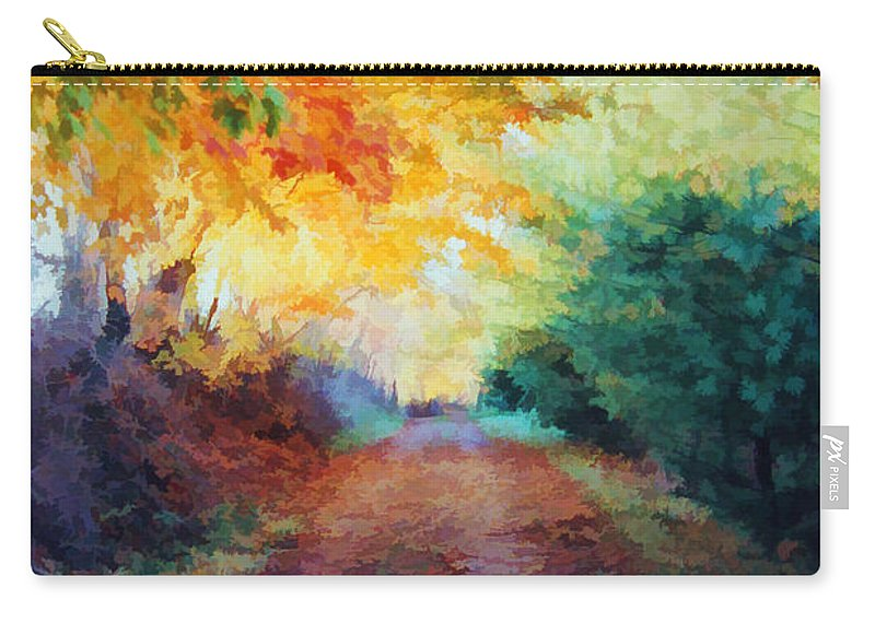 Road Carry-all Pouch featuring the photograph Autumn Road by Diane Alexander