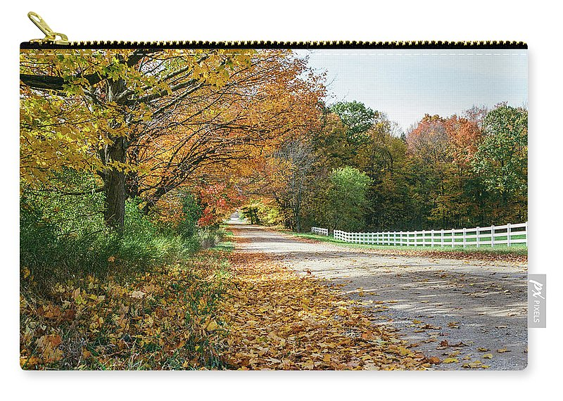 35mm Film Carry-all Pouch featuring the photograph Autumn Road With Fence by John McGraw