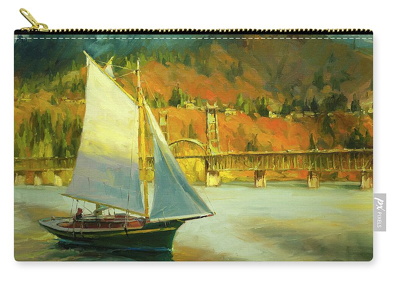 Sailing Carry-all Pouch featuring the painting Autumn Sail by Steve Henderson