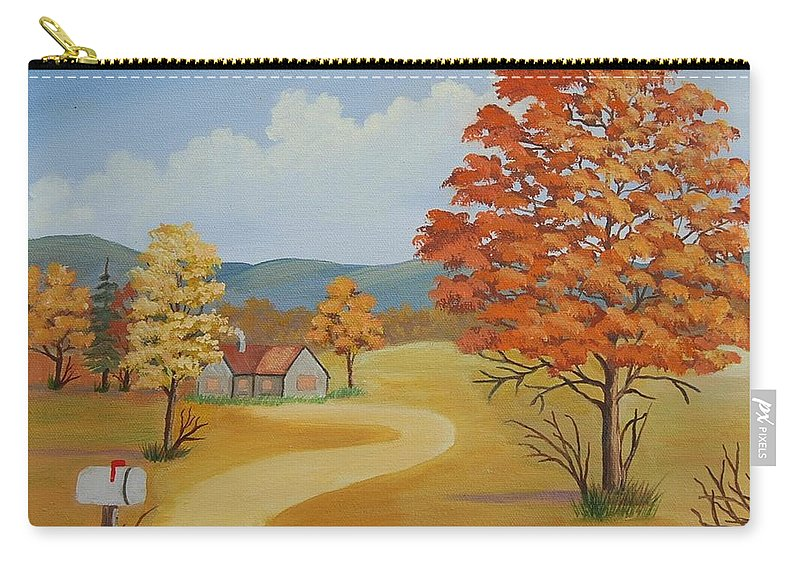 Landscape Carry-all Pouch featuring the painting Autumn Season by Ruth Housley