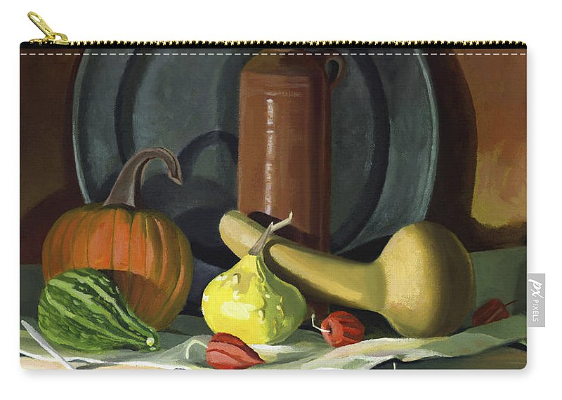 Still Life Carry-all Pouch featuring the painting Autumn Still Life by Nancy Griswold