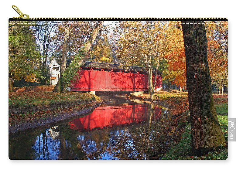 Covered Bridge Carry-all Pouch featuring the photograph Autumn Sunrise Bridge II by Margie Wildblood