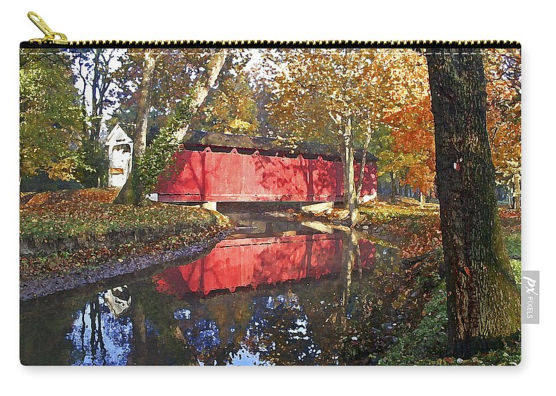 Covered Bridge Carry-all Pouch featuring the photograph Autumn Sunrise Bridge by Margie Wildblood