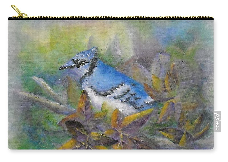 Autumn Carry-all Pouch featuring the painting Autumn Sweet Gum With Blue Jay by Sheri Hubbard