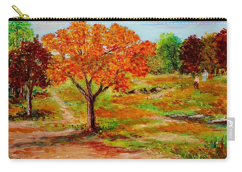 Landscapes Canvas Prints Originals Impressionism Pathways Acrylic On Canvastrees Carry-all Pouch featuring the painting Autumn Trees by Konstantinos Charalampopoulos