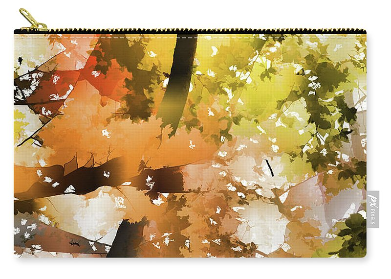 Autumn Trees In The Fog Carry-all Pouch featuring the painting Autumn Trees In The Fog by Jeelan Clark