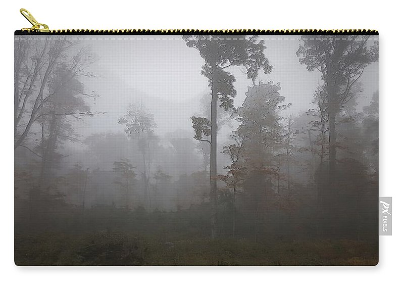 Autumn Carry-all Pouch featuring the digital art Autumn Trees In The Mist by Kevin Humphrey