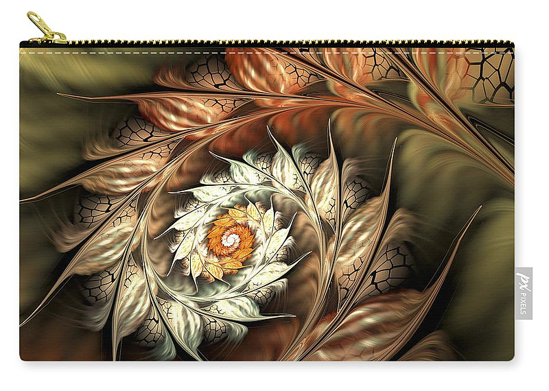Fractal Carry-all Pouch featuring the digital art Autumn Twist by Amorina Ashton