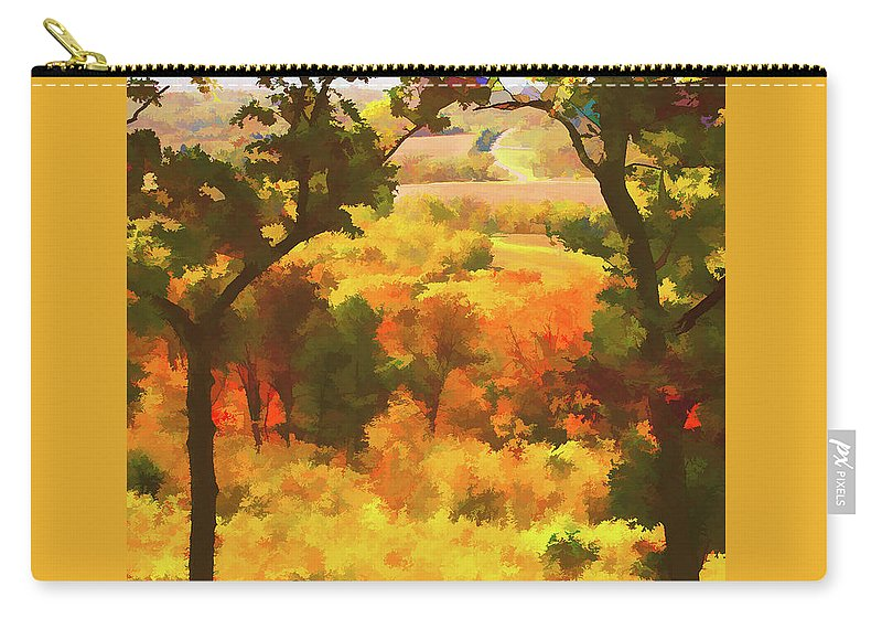 Impressionistic Carry-all Pouch featuring the photograph Autumn View, Montelle Winery, Augusta, Missouri by Lila Bahl