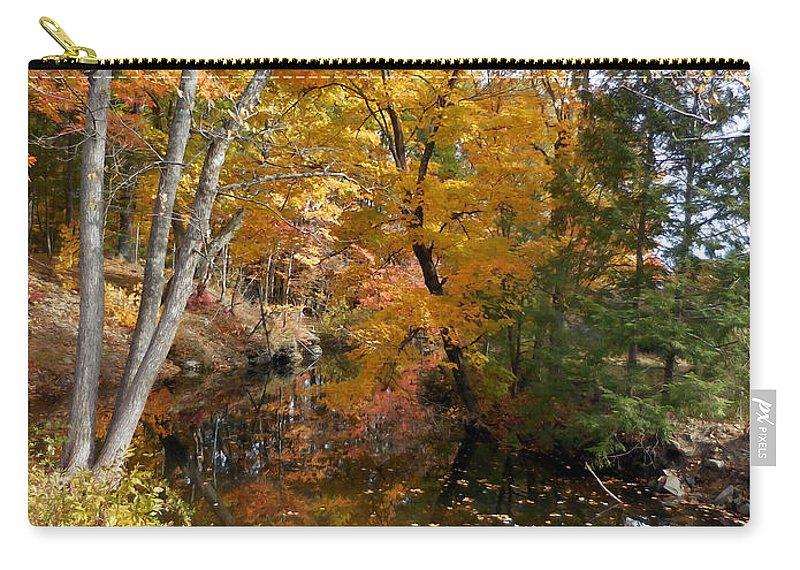 Autumn Vintage Landscape Carry-all Pouch featuring the painting Autumn Vintage Landscape 5 by Jeelan Clark
