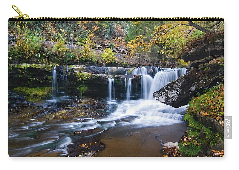 Waterfall Carry-all Pouch featuring the photograph Autumn Waterfall by Steve Stuller