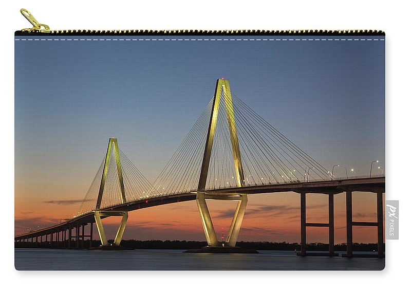 South Carolina Carry-all Pouch featuring the photograph Avenell Bridge Sunset by Nancy Dunivin