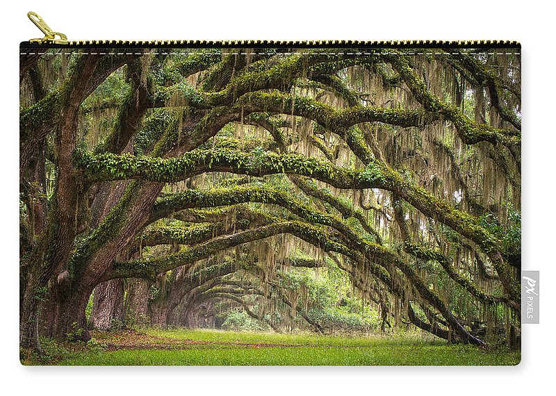 Charleston Sc Carry-all Pouch featuring the photograph Avenue of Oaks - Charleston SC Plantation Live Oak Trees Forest Landscape by Dave Allen
