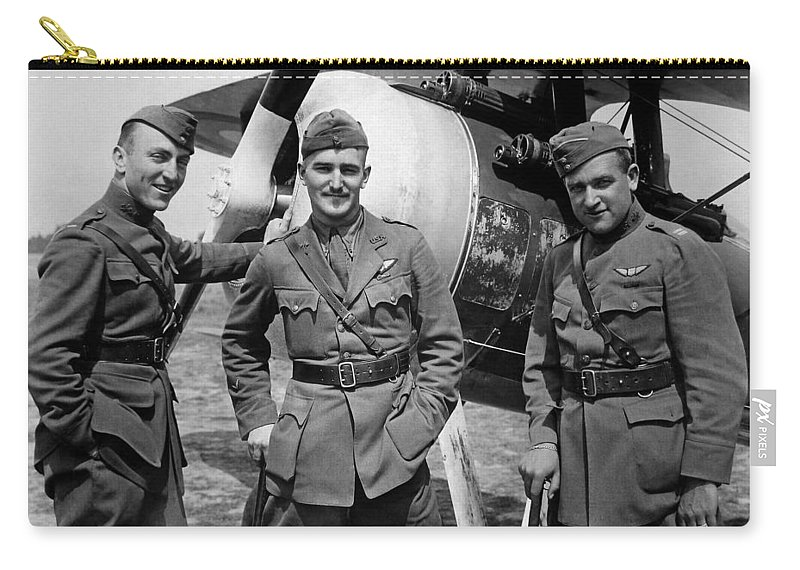 Eddie Rickenbacker Carry-all Pouch featuring the photograph Aviators Of The 94th Aero Squadron - World War I by War Is Hell Store