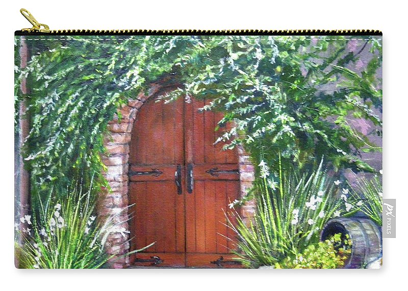 Door Curved Archway Carry-all Pouch featuring the painting Avignon by Olga Kaczmar