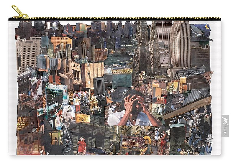 City Carry-all Pouch featuring the mixed media Avoidance Aka Sit And Stand by Jaime Becker
