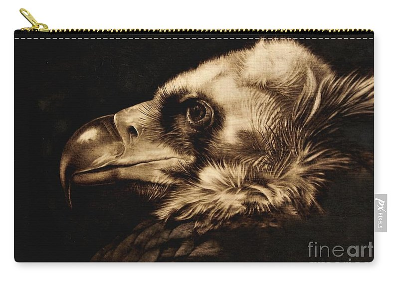 Avvoltoio Carry-all Pouch featuring the pyrography Avvoltoio by Ilaria Andreucci