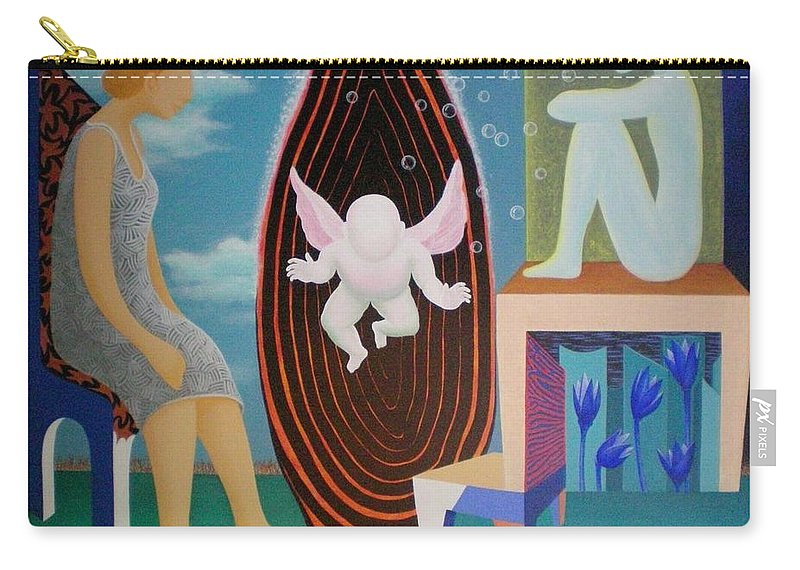 Figurative Carry-all Pouch featuring the painting Await by Raju Bose