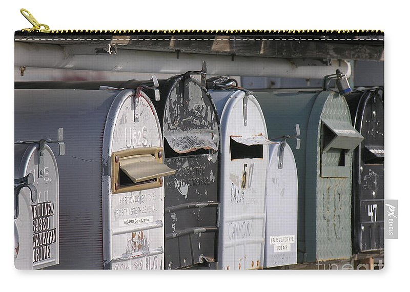 Mail Boxes Carry-all Pouch featuring the photograph Awaiting Mail Also by Diane Greco-Lesser