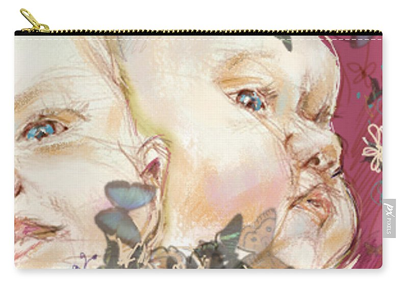 Portrait Carry-all Pouch featuring the painting Awake in Pink by Sarah Madsen