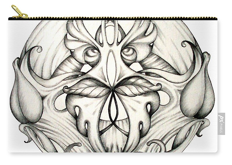 Mandala Carry-all Pouch featuring the drawing Awakening by Shadia Derbyshire