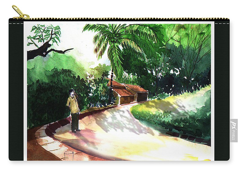 Water Color Watercolor Landscape Greenery Carry-all Pouch featuring the painting Awe by Anil Nene