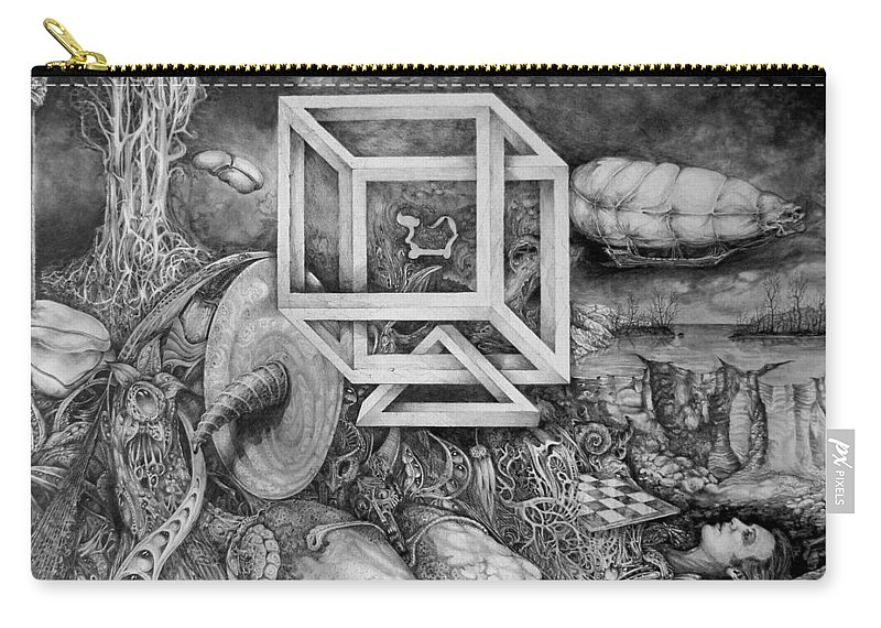 Drawing Carry-all Pouch featuring the drawing Axis Mundi by Otto Rapp