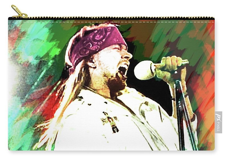 Axl Rose Carry-all Pouch featuring the painting Axl Rose november rain by Enki Art