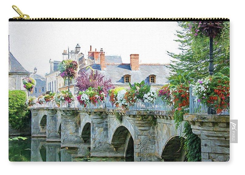 Azay Le Rideau Bridge Carry-all Pouch featuring the photograph Azay Le Rideau Bridge, Loire, France by Curt Rush