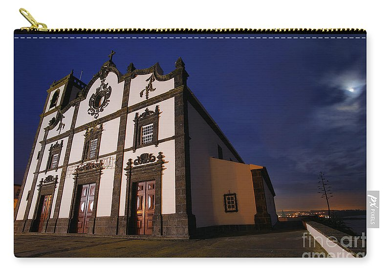 Catholic Carry-all Pouch featuring the photograph Azorean Church At Night by Gaspar Avila