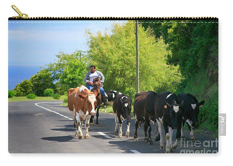 Agriculture Carry-all Pouch featuring the photograph Azorean Farmer by Gaspar Avila