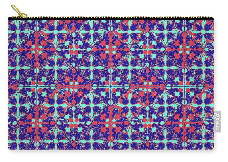 Seville Azulejo Carry-all Pouch featuring the mixed media Azulejos Magic Pattern - 07 by Andrea Mazzocchetti