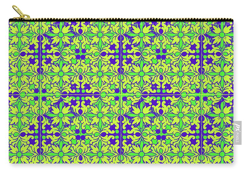 Seville Azulejo Carry-all Pouch featuring the mixed media Azulejos Magic Pattern - 08 by Andrea Mazzocchetti